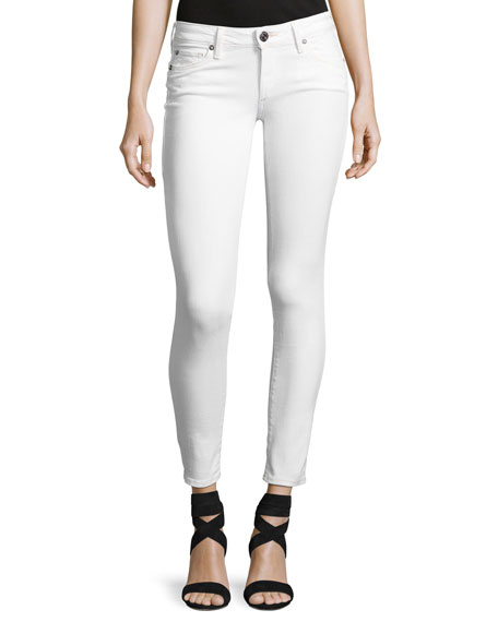 True Religion Casey Low-Rise Super-Skinny Jeans, Optic White