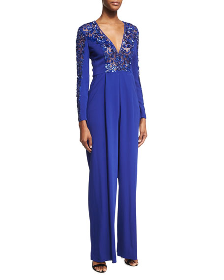 Flare-Leg Cady Jumpsuit with Embellished Lace Trim, Blue