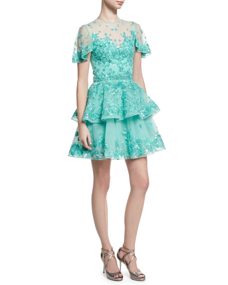 Beaded Tulle Fit & Flare Party Dress, Blue