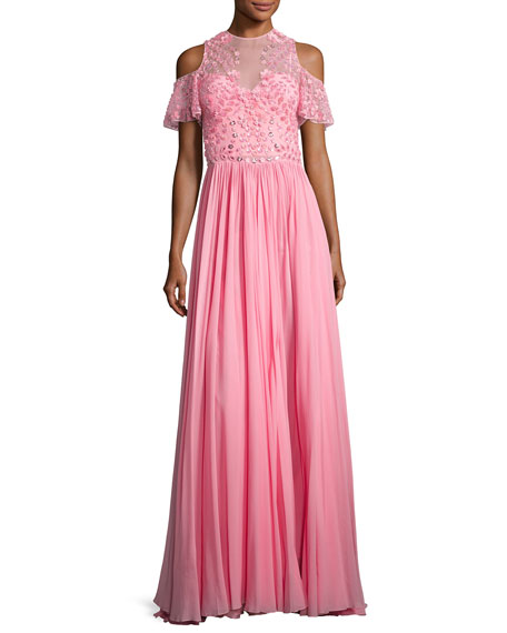 Cold-Shoulder Georgette Gown with Embroidered Bodice, Pink