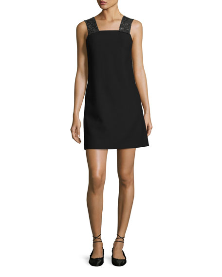 Elizabeth and James Sleeveless Embellished Ponte Shift Dress,