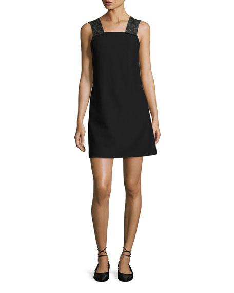 Sleeveless Embellished Ponte Shift Dress, Black