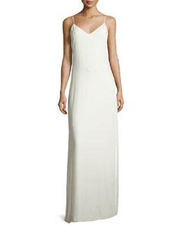Sleeveless Velvet Slip Gown, Ivory