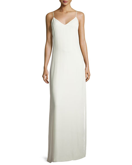 Sleeveless Velvet Slip Gown, Ivory