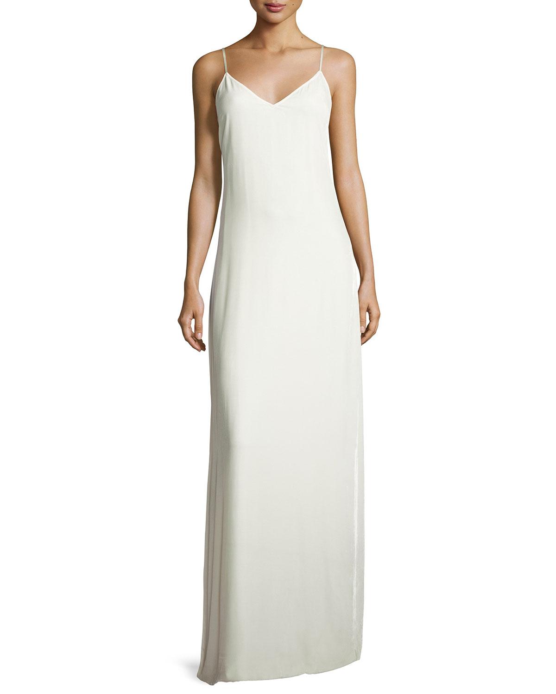 Elizabeth & James Sleeveless Velvet Slip Gown, Ivory   Neiman Marcus