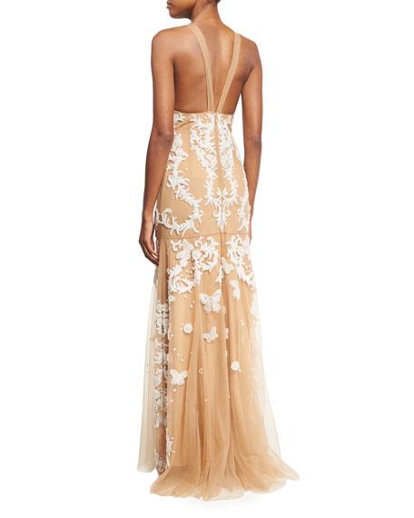 Sleeveless Beaded Tulle Gown, White/Neutral