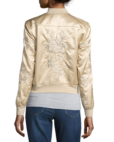 Suka Satin Floral-Embroidered Bomber Jacket, Champagne