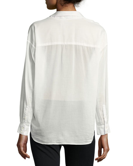 Moxy Cotton-Blend Wrap Shirt, White