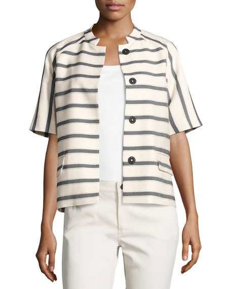 Ethan Half-Sleeve Snap-Front Striped Jacket, Black/White