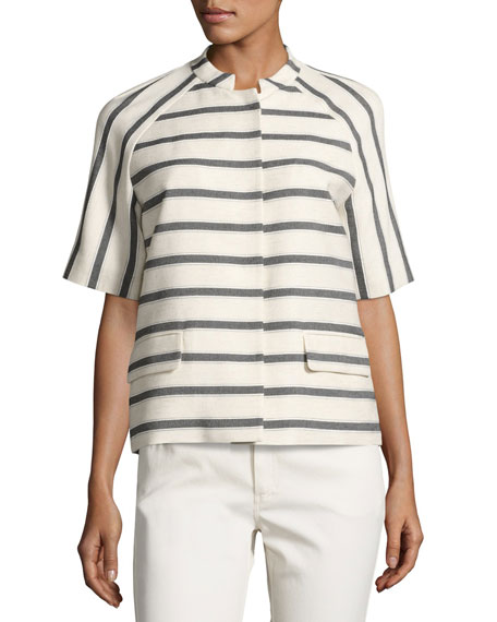 Lafayette 148 New York Ethan Half-Sleeve Snap-Front Striped