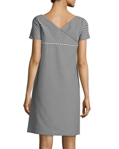 Cross-Back Textured Striped Jersey Shift Dress, Black/White