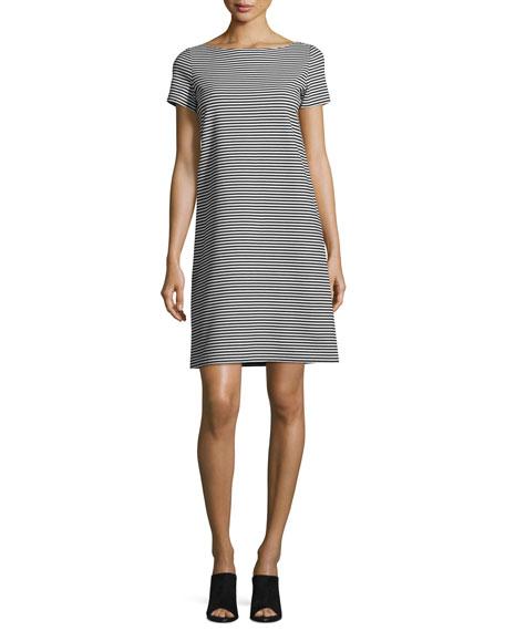 Cross-Back Textured Striped Jersey Shift Dress, Black/White