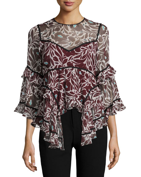 cinq a sept Woodcut Floral Melodie Silk Top,