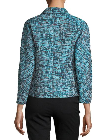 3/4 Sleeve Tweed Jacquard Snap-Front Cropped Jacket