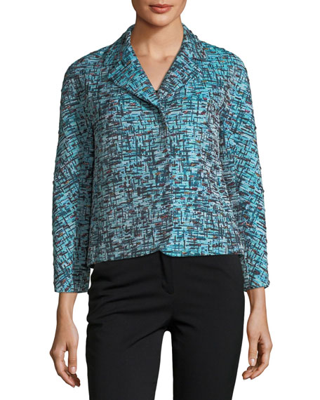 Escada 3/4 Sleeve Tweed Jacquard Snap-Front Cropped Jacket