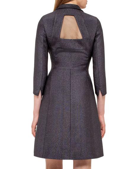 Eve Metallic Chenille Coat Dress, Black