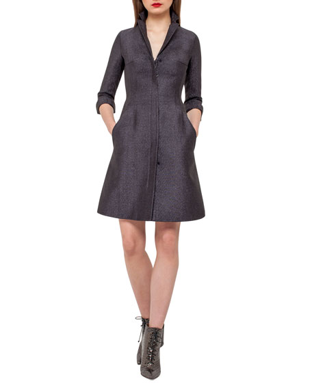 Akris Eve Metallic Chenille Coat Dress, Black