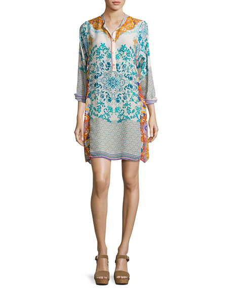 Johnny Was Ellyonora Half-Placket Floral Georgette Dress, Multi,