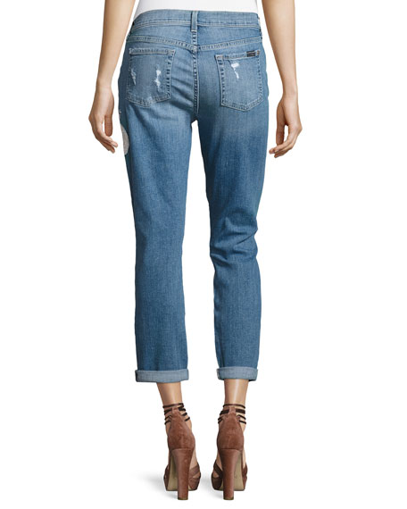 Josefina Embroidered Botanical Relaxed Jeans, Indigo