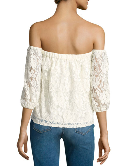 Lace Off-the-Shoulder 3/4-Sleeve Top, Natural