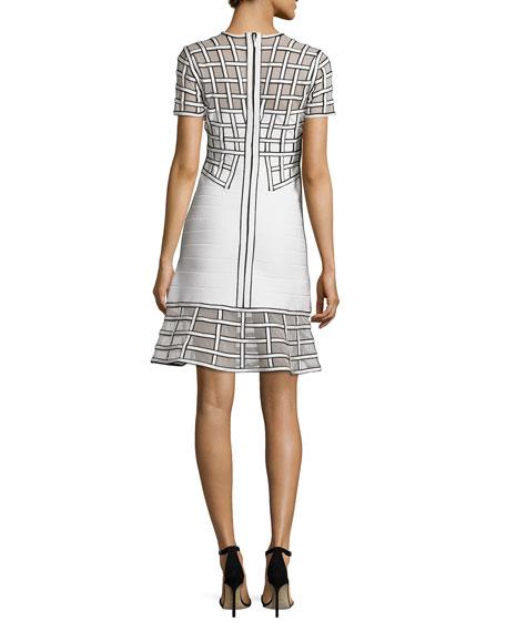 Short-Sleeve Graphic Flounce Dress, White