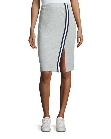 Varsity Active Side-Slit Pencil Skirt, Heather Gray