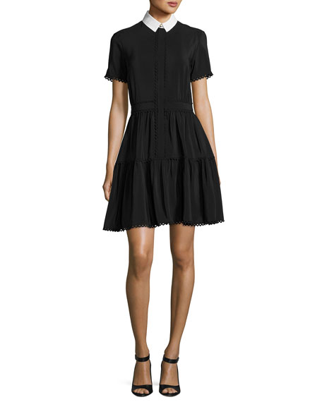 Collared Silk Crepe de Chine Mini Dress, Black
