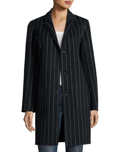 Sidney Chalk-Stripe Single-Breasted Coat, Black/White