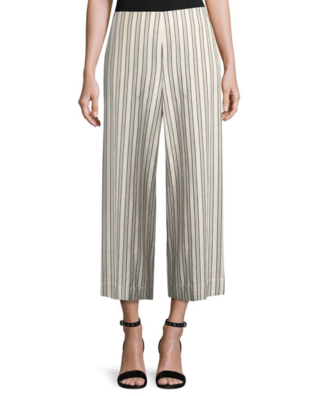 Lafayette 148 New York Morton Striped Cropped Wide-Leg