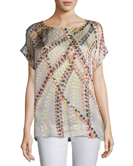 Lori Short-Sleeve Debonair Dots Silk Blouse, Multi Pattern