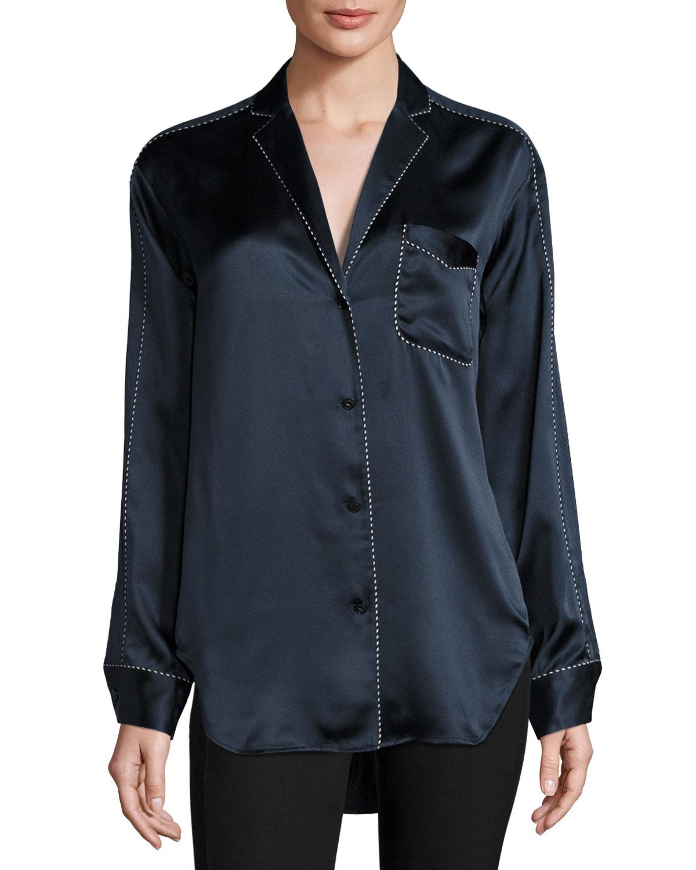 a99f184e7fc4c Rag   Bone Hahn Pickstitch Silk Satin Pajama Shirt