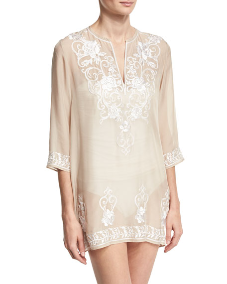 Marie France Van Damme Gigi Embroidered Silk Chiffon