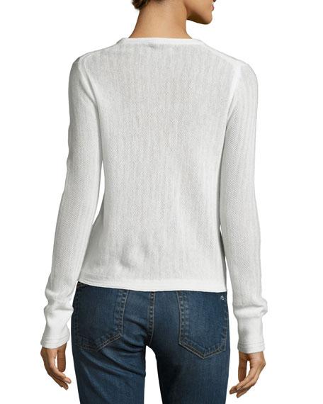 Estelle Herringbone Cashmere Scoop-Neck Sweater, Ivory