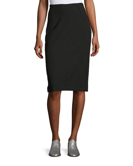 Rag & Bone Phoebe Back-Zip Pencil Skirt, Black