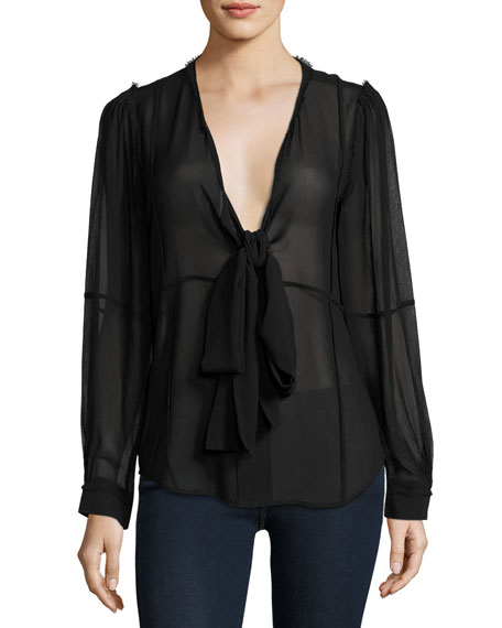 Windowpane Long-Sleeve Silk Chiffon Shirt, Noir