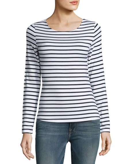 FRAME Nautical Stripe Boat-Neck Long-Sleeve Top, Navy/Blanc