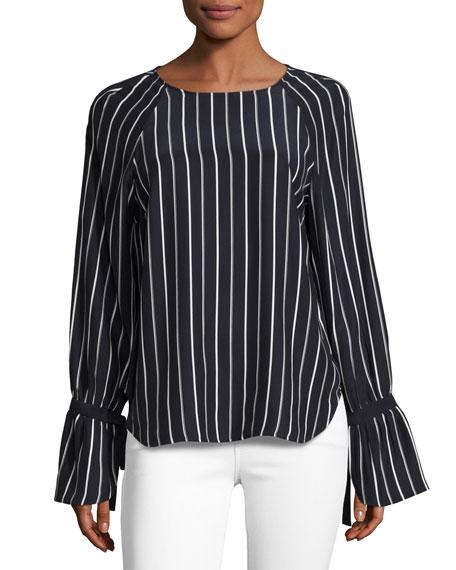 FRAME Voluminous Cuff Silk Blouse, Navy & Blanc
