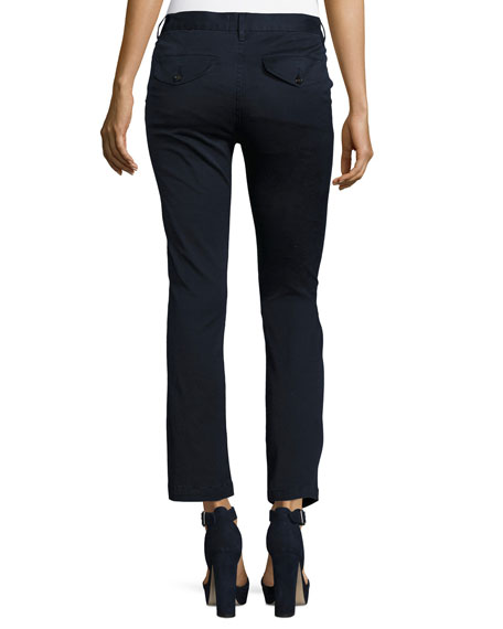 Le Crop Mini Boot-Cut Chino Pants, Blue