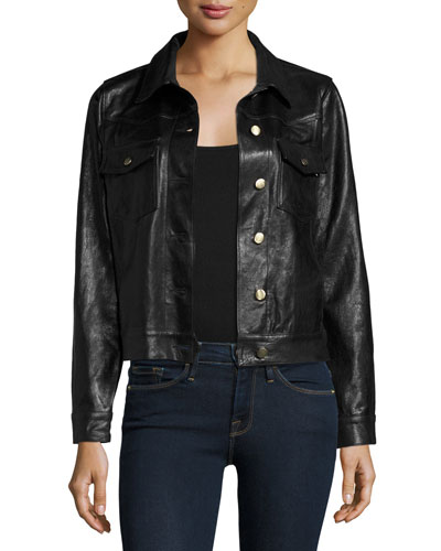 Leather Crop Jacket, Black Sale