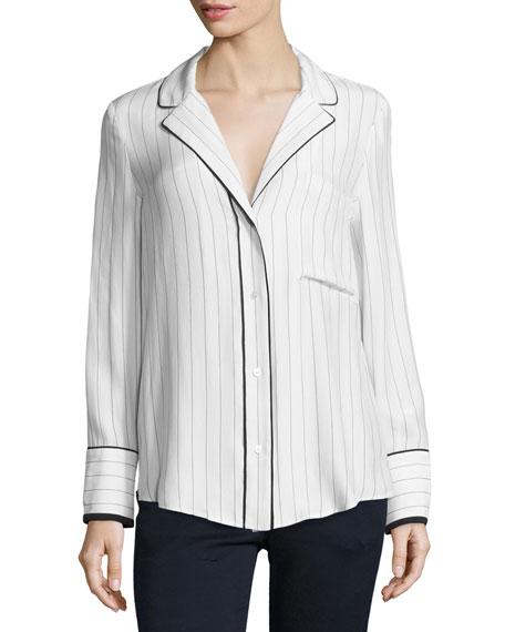 FRAME Pinstripe Silk Pajama Shirt, Blanc/Navy