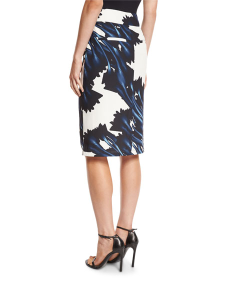 Printed Draped Faux-Wrap Pencil Skirt, Ink Crocus