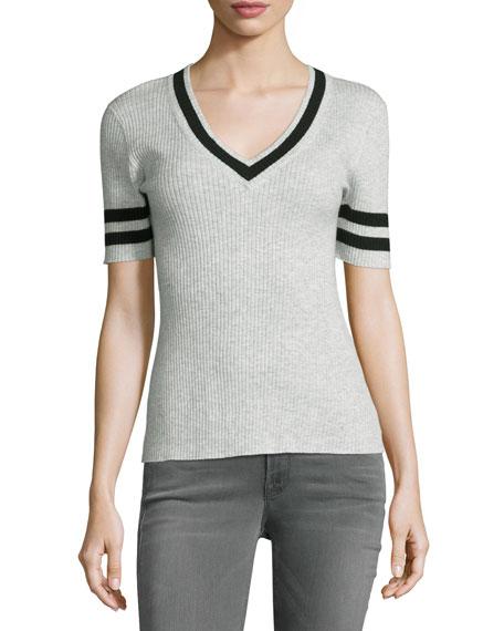 Ribbed V-Neck Sweater w/Stripes, Gris/Navy Stripe