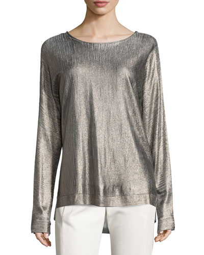 Foiled Boat-Neck Easy Sweater, Marled Heather