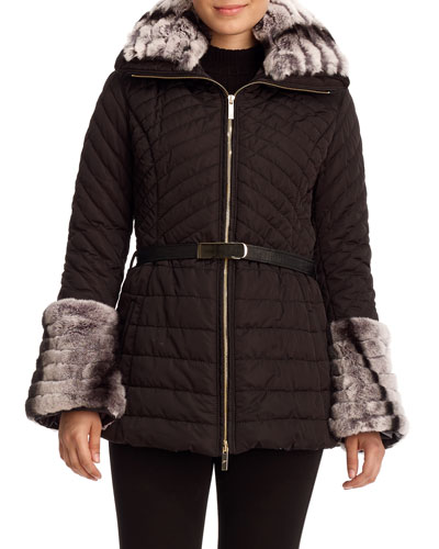 Apr?s-Ski Rabbit-Trim Belted Jacket, Black