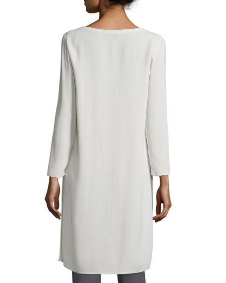 Silk Georgette Crepe Tunic, Bone