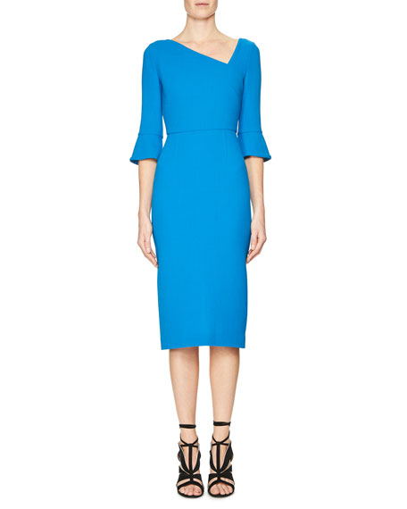 Roland Mouret Trumpet-Sleeve Asymmetric-Neck Dress, Berber Blue