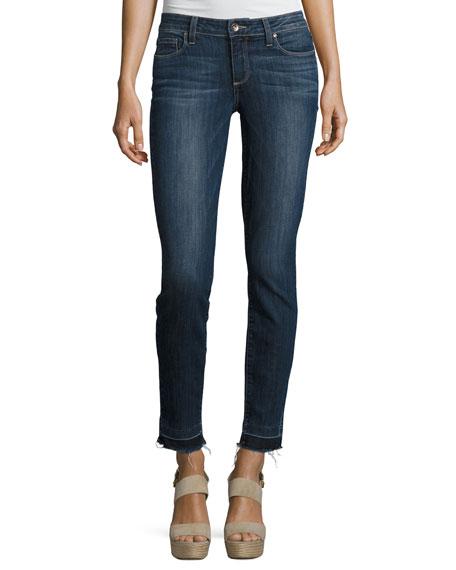 Verdugo Ankle Skinny Jeans with Undone Hem, Sandy