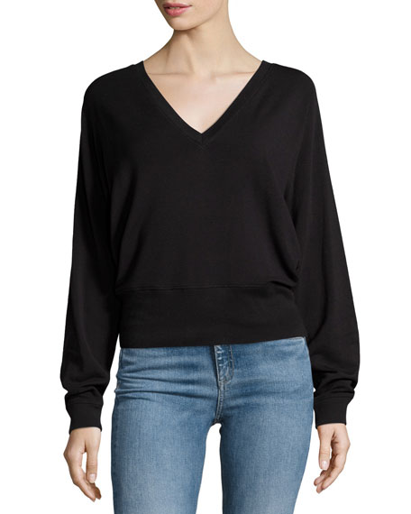 rag & bone/JEAN Cozy V-Neck Pullover Sweater, Black