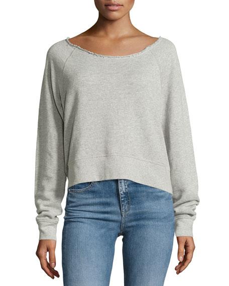 Raw-Neck Sweatshirt, Heather Gray