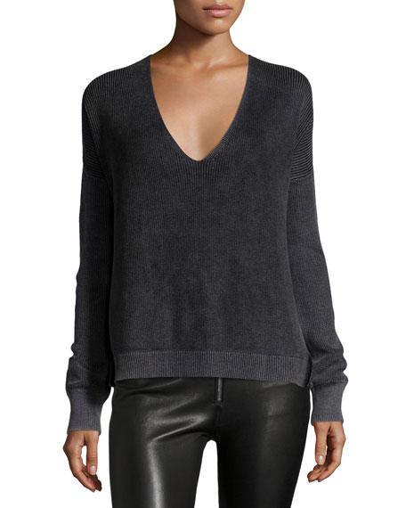 Taylor Washed V-Neck Sweater, Black Top Reviews